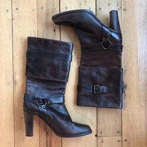 Frye Piper Harness Heeled Cuffed Leather Boot